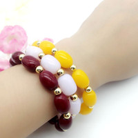 Wholesale Beads Bracelet Gold Plated Beads Insulation Bead Bracelet Elastic Beaded Bracelet Fashion Jewelry