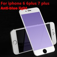 Protector de pantalla de cristal templado para iPhone 7 6 s plus Protector de pantalla de borde suave Film Anti Blue Light 3D Full Cover para iphone7plus