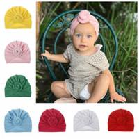 satılık erkek şapkaları toptan satış-SıCAK SATıŞ bebek Üst Düğüm Türban şapka Yürüyor yumuşak Türban vintage stil retro bebek Yenidoğan kız erkek Kafa wrap