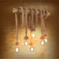 Wholesale Bamboo Pendant Lights - Vintage Bamboo Pendant Lamp Retro Countryside wicker Pendant Lights With 4 6 Lights Pipe Industrial Edison bulbs Dining Room Lighting