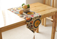 Wholesale Wholesale Flocking Table Runner - 30*180cmTable Cloth European Flower tablecloth Party Wedding Decoration Raised Flocked Damask Table Runner Cloth Cover LY
