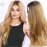 "Wholesale Long Blonde Wigs For Cheap - Synthetic Wigs 28"" Long Ombre Blonde Wig Drag Queen Hair Cheap Female Wigs for Black Women Ombre Long Wavy Curly Hair"