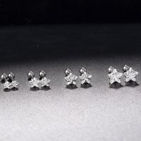 3 4 5 6mm Or Noir Argent Labret Lip Ring Zircon Star Tragus Helix Ear Cartilage Piercings Boucles d'oreilles Punk 1Set = 4Pairs