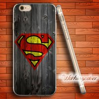 Wholesale 5c Cover Wood - Fundas Superman Wood Pattern Soft Clear TPU Case for iPhone 6 6S 7 Plus 5S SE 5 5C 4S 4 Case Silicone Cover.