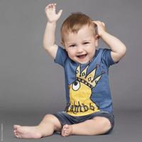 corona redonda bebé al por mayor-2017 INS NUEVA LLEGADA Niños Niñas Niños camiseta de manga Corta collar redondo pollitos con la corona camisa causal niño bebé niño camiseta fresca
