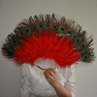 Wholesale Peacock Party Favors - Red Handmade Chinese Folding Feather Hand Peacock Eye Fan For Party Home Decor Dance Show Party Favors