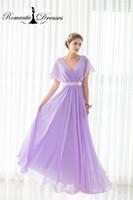 Wholesale Dress Instock - Chiffon Purple A line V Neck Bridesmaid Dresses Cheap Romantic Dresses 100% Real Photos Women Formal Party Gowns Instock 12507