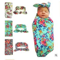 Wholesale Pattern Baby Swaddle Blanket - Blankets Baby Swaddle Headband Set With Bunny Ear Newborn Headbands Swaddle Wrap Cloth with Floral Pattern Head bands Free Shipping