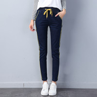 Wholesale Long Cargo Pants For Women - New Trend Black Blue Casual Pencil Jeans for Woman Elastic Black Cargo Pant Woman with Pocket Strip