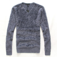 Wholesale Male Wool Clothes Fashion - Wholesale- 2016 winter New arrival Men's Clothing Male Fashion slim V-neck Pullover mohair sweater & Bottoming shirt Men casual Tops M L XL