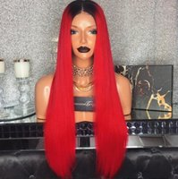 Wholesale Human Red Lace Wig - Ombre 1BTRed Full Lace Wig Brazilian Virgin Hair Silky Straight Lace Front Human Hair Wig Red With Dark Roots For Women