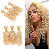 Wholesale Blonde Weft Wavy Human Hair - Hot Selling 9A Deep Wave Wavy Blonde Hair Weaves Unprocessed Blonde #613 Brazilian Human Hair Weft Extensions 3 Bundles Free Shipping