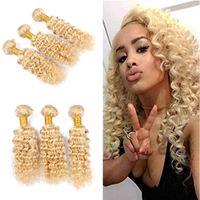 Wholesale Blonde Wavy Hair Weave - Hot Selling 9A Deep Wave Wavy Blonde Hair Weaves Unprocessed Blonde #613 Brazilian Human Hair Weft Extensions 3 Bundles Free Shipping
