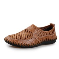 Wholesale Export Shoes - Summer Breathable Mesh Shoes Mens Casual Shoes Genuine Leather Slip On Brand Fashion Summer Shoes Man Soft Comfortable Export 38-44