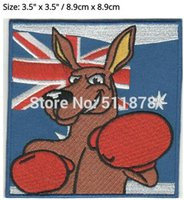 "Wholesale Kangaroos Costumes - 3.5"" Australia BOXING KANGAROO Flag TV Movie Series Patch Cosplay Costume Embroidered Emblem iron on sew on badge applique"