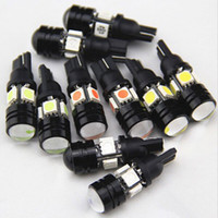 100pcs / lots 12V T10 5W 5bulbs LED pour Auto Car Lamp COB Projecteur Lens Interior Packing voiture styling lumière