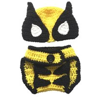 Wholesale handmade crocheted hat set online - Super Cool Newborn Super Hero Costume Handmade Knit Crochet Baby Boy Girl Wolverine Hat and Diaper Cover Set Infant Halloween Photo Prop