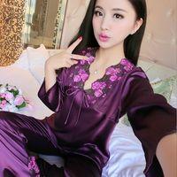 Wholesale Summer Female Pajamas - female silk pajamas sexy plus size long sleeve viscose twinset spring summer autumn lace women sleepwear pajama sets