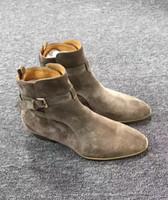 leder stiefel für männer großhandel-Chelsea Boots Herren Lederstiefel British Style Wildleder Lederstiefeletten High Top Slip auf Herren Stiefel