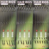 ingrosso accessori per capelli per trecce-18pcs Carp Fishing Hair Rigs intrecciato filo 8340 acciaio ad alto tenore di carbonio gancio girevole Boilies Carp Rigs Accessori pesca alla carpa