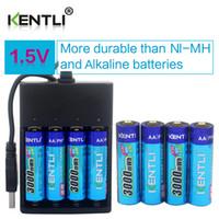 Wholesale Kentli Lithium - 8pcs KENTLI 1.5v 2800mWh Li-polymer li-ion polymer lithium rechargeable AA batteries + 4 channels Charger