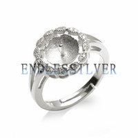 Wholesale round ring mount setting - Ring Settings Blank Base Round Shape 925 Sterling Silver Zircon Jewellery Findings Pearl Mounting for Pearl Party