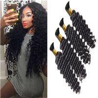 Wholesale european wave braiding hair resale online - 3Bundles Brazilian Deep Curly Hair A Mink Brazilian Hair Human Braiding Hair Bulk No Weft Brazilian Deep Wave