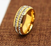 Wholesale Golden Great - 2018 men rings wedding ring lover 316L Stainless Steel 24K Golden 8mm Band Ring Men CZ Inlay Wedding Engagement Ring wedding