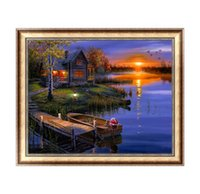 Wholesale River Picture - DIY Diamond Painting Cross Stitch River Landscape Picture Mosaic Pictures for Living Room Diamond Embroidery Diamond Paintings U0008
