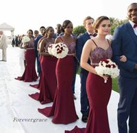 Wholesale Olive Garden Lights - 2017 New African Burgundy Bridesmaid Dress Vintage Lace Appliques For Summer Garden Wedding Guest Maid of Honor Gown Plus Size Custom Made