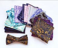 Wholesale Wholesale Wool For Suit - Hot Fashion Men Paisley tie Pattern Pocket Square Handkerchief Silk Paisley Men Hankies for Men Suit Square 25*25cm