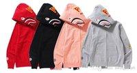 Wholesale Fleece Zip - New high quality sports women sweater Street van BA SHARK solid trendsetter shark men and women Zip Hoodie Hoodie