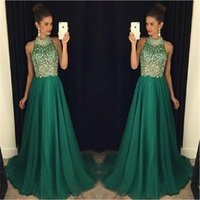 Wholesale Emerald Green Formal Gowns - Luxury Emerald Green Prom Dresses Long 2017 High Neck Crystal Beaded Formal Women Evening Gowns Sheer A-Line Tulle Party Dress
