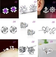 Wholesale Ship Anchor Silver Jewelry - New Women 925 Silver Stud Earrings Fox Butterfly Anchor Design Anti-Allergic Silver Jewelry Stud Earrings free shipping