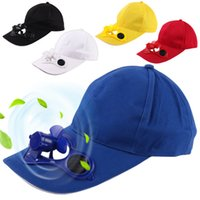 Wholesale Sun Solar Powered Cap - 2017 Summer New Unisex Cotton Baseball Cap Curved Solar Power Fan Brim Caps Men Hip Hop Hat Women Snapback Hats Sun Protection