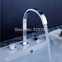 Wholesale Sink Bathtub Faucet - Wholesale- Dual square Handles Deck Mounted Widespread Bathroom Basin bathtub Faucet.Chrome Finished 3pcs sink mixer tap.Torneira Banheiro.