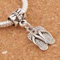 Wholesale Flip Flop Bracelets - Slippers Flip Flops Big Hole Beads 100pcs lot Antique Silver Dangle Fit European Charm Bracelets 9.4x32.6mm B401
