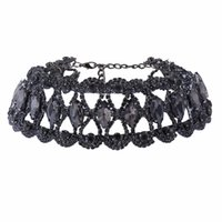 chocker de cristal colares venda por atacado-Moda grande cristal Rhinestone gargantilha colar Mulheres Chocker Chunky Colar De Luxo 2017 Collier Declaração de jóias