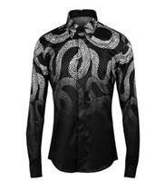 Wholesale Unique Designs Mens Shirts - Wholesale- Luxury 2017 Men Shirt Chemise Homme Unique powerful snake Design Mens Slim Long Sleeve Cotton Dress Shirts Brand Camisas Hombre