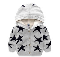 Wholesale Mixed Kids Clothes - 2017 New brand Children clothing baby boy Autumn winter star printed cadigan hooded sweater coat kids long sleeved sweater Free shipping