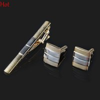 Wholesale Iron Man Clips - Formal Stylish Cufflinks Tie Clip Set Hot Gold Men Business Clip Super Quality Bar Cuff Link Tie Pin Set cuffs Gemelos Tie Clip Set SV007292