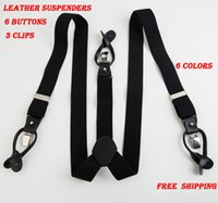 Wholesale Unisex Fashion Suspenders Braces - Wholesale-New Genuine leather Suspenders Men's button Suspenders cowhide spaghetti strap button Braces 6 colors