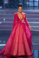 miss rose robes achat en gros de-Sexy Deep V Neck Miss Univers Robe Robes De Soirée De Velours Rouge À Manches Longues Importé Robes De Soirée Plus La Taille Dernière Conception De Robe