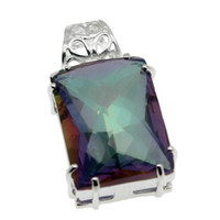 """Wholesale Mystic Necklace - Rainbow Fire Mystic Topaz Solitaire Pendants Necklace 925 Sterling Silver Beautiful Oval Fashion Jewelry 1 1 2"""" inch"""