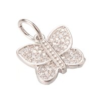 Wholesale Nickel Pendant Charms - Silver Jewelry Pendant Charm New Fashion Lead&Nickel&Cadmium Free Gold Brass Micro Pave Pendant ICPS024 Size 18*13.9mm