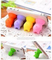 Wholesale Cute Cellphone Holder - Cute Pig Silicone Suction Cup Phone Stand Holder Sucker For iphone 7 6 Plus 4 5 For Sumsung S5 S6 Mobile Phone Cellphone