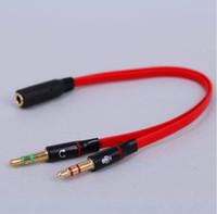 divisor de auriculares y cable de 3.5mm al por mayor-Cable de audio para ordenador de alta calidad 3.5mm Mini Jack 1 hembra a 2 macho (auriculares + micrófono) Y Splitter