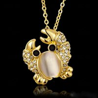 Wholesale Jade Pendant Designs For Women - Fashion Women High Quality Jewelry Crab Pendant Necklaces Opal 18K Gold Plated Design Chains Long 45CM For Women