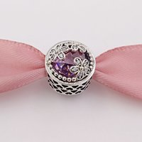 Wholesale genuine cz - Genuine S925 Sterling Silver Beads Dazzling Daisy Meadow, Pink & Clear Cz Fit European Style Brand Bracelets & Necklaces ALE 792055PCZ