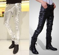 Wholesale Leather Costumes For Men - Wholesale-Mens Skinny Faux PU Leather Pants Shiny Silver Black and Gold Pant Trousers Nightclub Stage Costumes for Singers Dancer Male 3XL